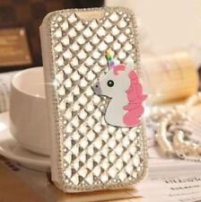Bling Glitter Crystal Diamond Unicorn Wallet Flip Case Cover For ZTE ALL Phones