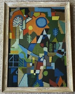 Vintage 60s Abstract Landscape Needlepoint Wall Hanging Mid Century Modern Art