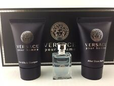 VERSACE POUR HOMME 3PC GIFT SET S/GEL 25 ML COLOGNE MINI & A/S BALM NEW BOX