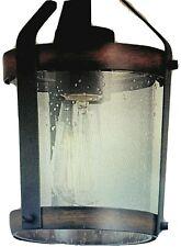 Kichler Barrington Mini Pendant Cylinder Light Black & Wood Rustic Seeded Glass