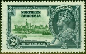 Northern Rhodesia 1935 2d Green & Indigo SG19F Diag Line by Turret Fine Mtd Mint