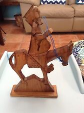 Vintage Stained Hand-carved Don Quixote Riding with Mule from Mexico