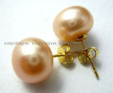 11-12mm Pink Akoya Pearl button shape Stud Earrings AAA Grade