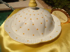 SHELLEY DAINTY  YELLOW  POLKA DOTS   #13748  COVERED  BUTTER  DISH -  MINT