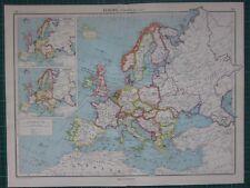 1952 Mappa di grandi dimensioni ~ L'EUROPA INGHILTERRA SPAGNA FRANCIA ITALIA INSERTO prima di guerre