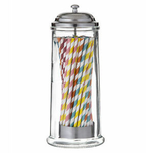 Davis & Waddell Glass Straw Dispenser with 60 Paper Straws Clear/Stainless St...