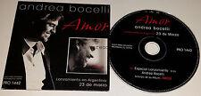 """Especial Lanzamiento Anticipo de """"Amor"""" by Andrea Bocelli (CD) MADE IN ARGENTINA"""