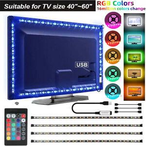 USB TV Backlight LED Strip Lights 5050 RGB Lighting 4 Strips + Remote Control UK