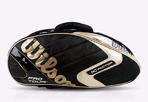 Wilson K Factor Badminton Racket Backpack Bag Black Gold Sports NWT WRR6062
