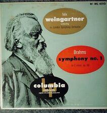 VINYL RECORD LP WEINGARTNER, LONDON PHILHARMONIC, BRAHMS SYMPHONY NO. 1 MONO