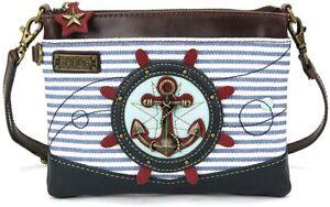 Chala Crossbody Bag, Anchor on Blue Stripes (826AC1S)