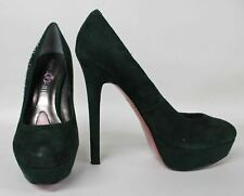 PARIS HILTON Ladies Green Suede Embellished High Heel Court Shoes UK3.5 US5.5