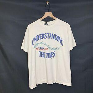 VINTAGE 90s Jesus Tee Church Graphic T-Shirt White Single Stitch  50/50 Size XL