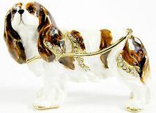 Cavalier King Charles Spaniel Blenheim Dog  Jewelled Trinket Box Figurine 6.5cmH