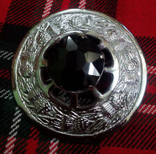 "Black Stone Silver Finish 3""/Metal Traditional Scottish Kilt Fly Plaid Brooch"