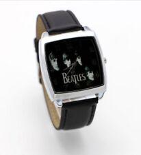 Reloj de Pulsera Reloj de pulsera de los Beatles B Negro Correa de Cuero Negro Música Rock Niños Adultos