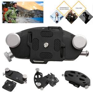 DSLR Kamera mit Schnellverschluss, Gürtelschnalle und Clip zur Knopfbefestigung