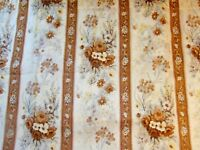 Vintage Fabric 1960s Polyester Retro Floral Stripe Lace Fern Panel Brown 42x60