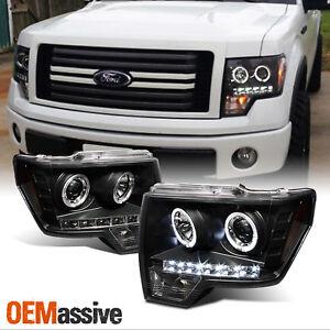 Fits 09-14 Ford F150 F-150 Pickup Black Bezel Dual Halo LED Projector Headlights