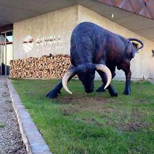 DEKO STIER ALFREDO schwarz braun lebensgroß GFK Tier  Figur BULLE KUH Dekoration