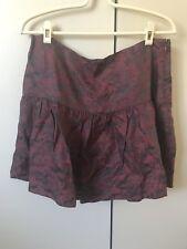 Alannah Hill Summer Night Smooches Silk Skirt SiZe 12 Wine Burgundy Oriental