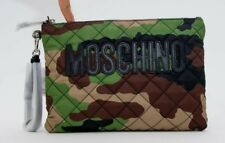 AW17 Moschino Couture Jeremy Scott Quilted CAMOUFLAGE GREEN BROWN Nylon ClutchXL