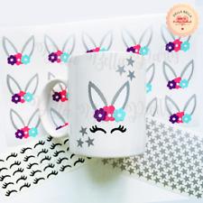 Easter Stickers Unicorn Silver Bunny Kids Baby Nursery Wall Sweet Cones Mug