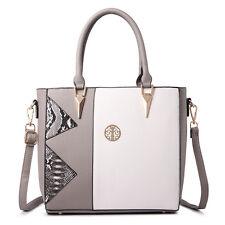 Women Designer Snake Skin PU Leather  Shoulder Tote Handbag Bag Satchel Grey
