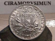 PL2(1) - 50 CENTIMES - SEMEUSE - ARGENT - 1911 - TRES RARE QUALITE SUP !