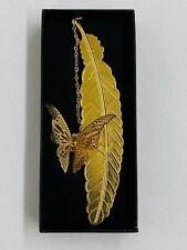 NEW Metal Bookmark Feather w/ Golden Butterfly Hanging Chain