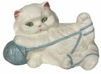 Big White Persian Kitty Cat Playing w/ Blue Yarn Large Vintage Ceramic Figurine