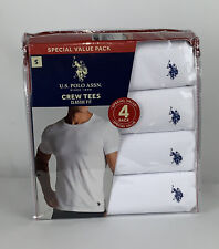 US Polo Assn 4 Crew Tees, Small White Classic Fit Cotton T-Shirts New