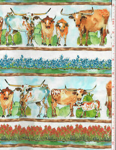 Texas LongHorns Border Stripe cotton Quilt fabric Quilting Treasures BTY