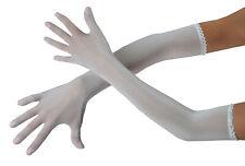 """Persephone"" sheer seamless nylon lycra evening gloves opera length transparent"