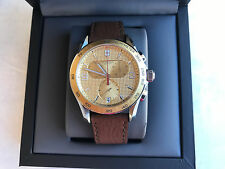 NWT Victorinox Swiss Army 241659 Mens Chrono Brown Leather Strap Gold Dial Watch