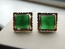 Vintage 18K Green Jade Yellow Gold Earrings