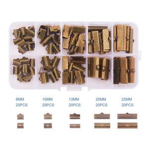 100Pcs Iron Ribbon Bracelet Pinch Crimp Ends Fasteners Clasp Leather Crimp Ends