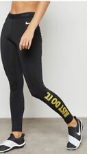 WOMENS NIKE PRO TRAINING TIGHTS SIZE S ,,JUST DO IT'' (926999 010) BLACK / GOLD