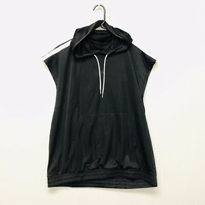 Adidas Summer Sleeveless Hoodie (Men's Size L) Mesh Athletic Pullover Top Black