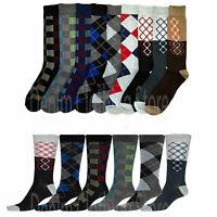 Lot of 6 pair Knocker Men Assorted Argyle Checker Print Design Crew Dress Socks