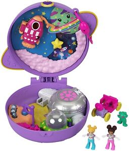 Polly Pocket Saturn Space Explorer Compact, 2 Micro Dolls & Accessories TOY NEW