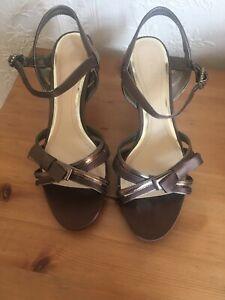 "CLARKS bronze satin size 4 sandals with 3"" kitten heel"