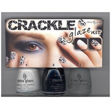 China Glaze Crackle Glaze Kit (3pack, White, Black Mesh, Fast Forward Top Coat)