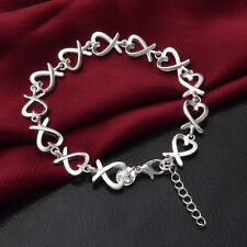 Cute Women Silver Plated Heart String Charm Chain Bracelet Bangle as Gift