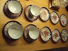 Geisha Girl Handpainted Japanese Porcelain Cups,Saucers,Plates/14 Pc/ Pre c.1910