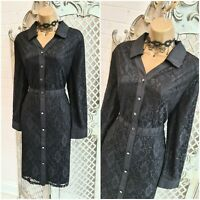 CHANGES BY TOGETHER  💋 UK 14 Sheer Black Lace Line Button Down Dress ~Free P&P~