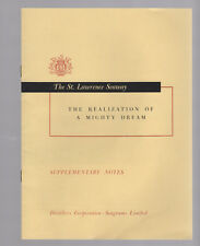 ST LAWRENCE SEAWAY brochure The Realization of a Mighty Dream CANAL Seagram 1959