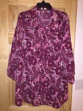 NWT WOMEN'S WINE BORDEAUX  Long Sleeve Floral Woven Blouse - Size 3X 22W/ 24W