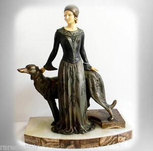 Menneville et Rochard LARGE metal art deco figurine -circa 1920