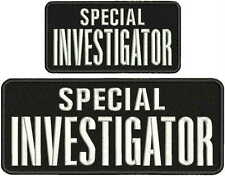 special investigator embroidery patch 4X10 and 3x6 hook on back blak/white leter